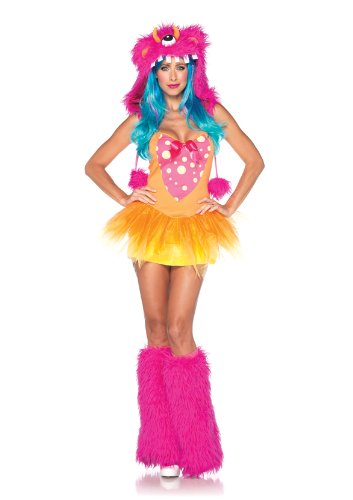 Leg Avenue Women's 2 Piece Shaggy Shelly Tutu Dress And Furry One Eyed Monster Hood, Pink/Yellow, Small/Medium