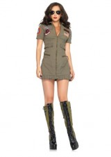 Leg-Avenue-Womens-2-Piece-Top-Gun-Flight-Zipper-Front-Dress-Green-Large-0-0