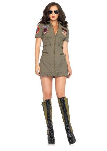 Leg-Avenue-Womens-2-Piece-Top-Gun-Flight-Zipper-Front-Dress-Green-Large-0-0