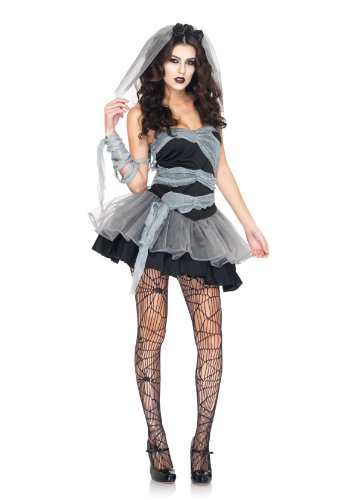 Leg Avenue Women's 3 Piece Dead And Buried Bride Dress with Wrap, Black/Grey, Large