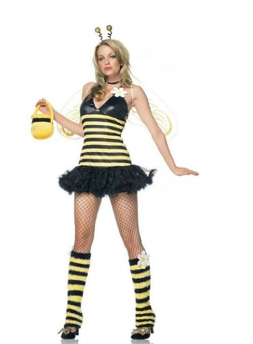 Leg Avenue Women's 4 Piece Daisy Bee Costume Includes Head Piece With Petticoat Dress And Leg Warmers Yellow/Black Medium/Large