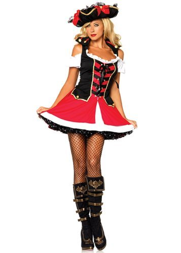 Leg Avenue Women's Aye Aye Admiral Costume, Black/Red, Small/Medium