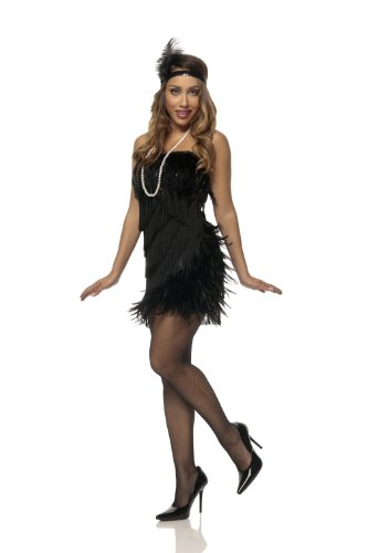 Mystery House Costumes Swan Flapper, Black, X-Large
