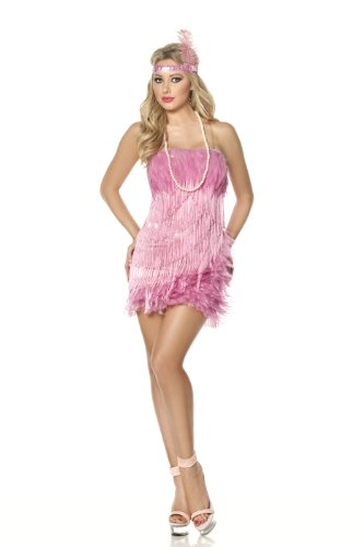 Mystery House Flamingo Flapper Costume, Pink, Medium