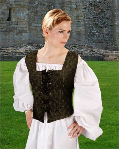Pirate Wench Peasant Renaissance Medieval Costume Corset Bodice (Large)