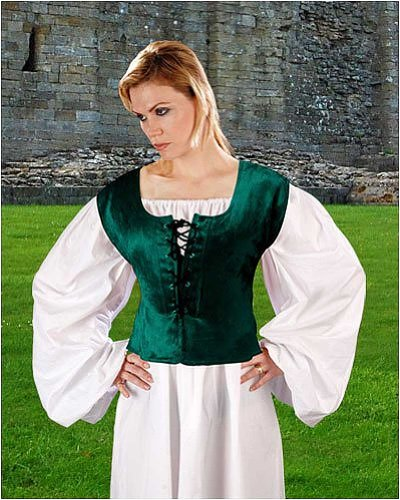 Pirate Wench Peasant Renaissance Medieval Costume Corset Bodice (Small, Green)