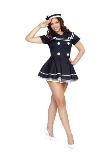 Roma Costume 2 Piece Pin-Up Captain As Shown, Navy Blue, Medium/Large