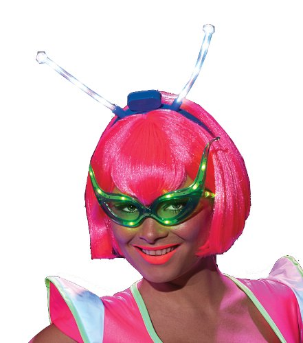 Rubie's Costume Alien Raver Wig With Led Boppers, Multi, One Size
