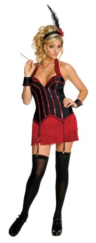 Secret Wishes Womens Playboy Flapper Costume, Black/Red, Large