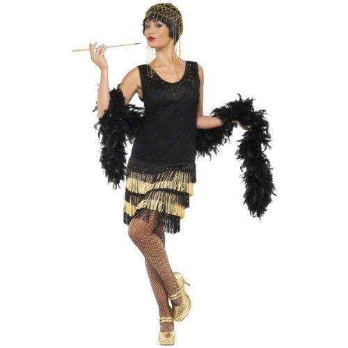 Smiffy's 20s Fringed Flapper Costume, Black/Gold, Large