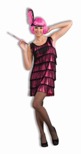 Woman's Jazzy Flapper Costume, Pink/Black, Medium/Large