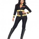 2-PC-Red-Blaze-Firefighter-Catsuit-Set-Large-Black-0