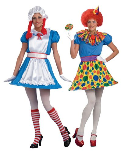 2-in-1 Clown and Ragdoll Adult Halloween Costume Size Standard