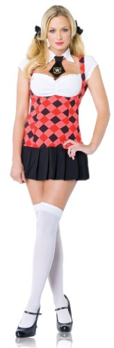 2Pc Prep School Cutie Sexy Holiday Party Costume (Black/Red;X-Small)