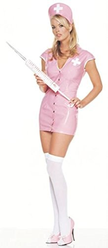 2Pc Vinyl Nurse Sexy Holiday Party Costume (Pink;X-Large)
