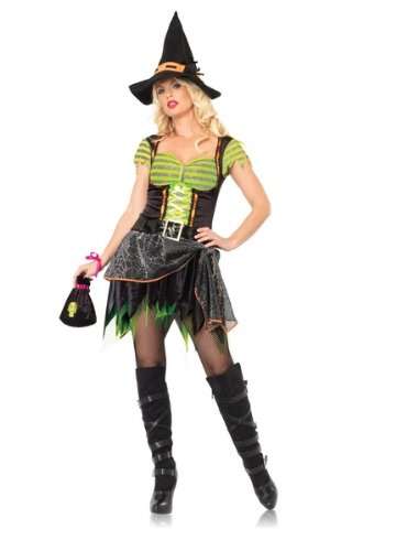 3 Pc Spider Web Witch (Black/Orange/Neon Green;Small/Medium)