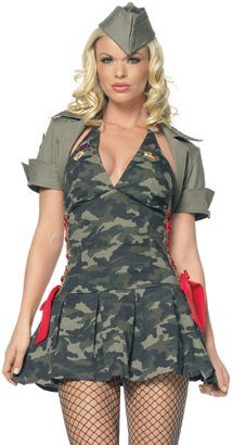 3Pc Army Cadet Include Hat, Shrug And Lace Up Side Dress (Green/Red;Large)