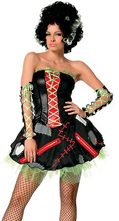 3Pc. Monster's Bride Incl Bolt Headpiece,Striped Arm Warmers,Patched Dress(BLACK,LARGE)