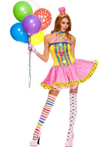 4 PC. Ladies Circus Cutie Clown Dress Costume – Small/Medium – Multicolors