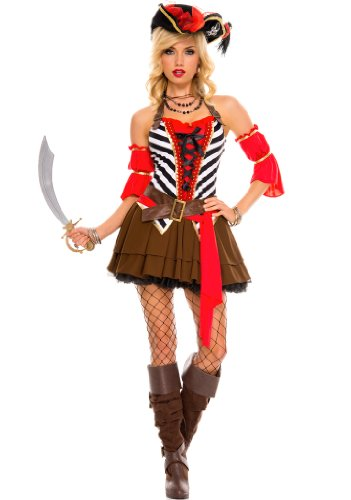 4 PC. Ladies' Private Pirate Dress Costume Set – 1X/2X – Red/Brown