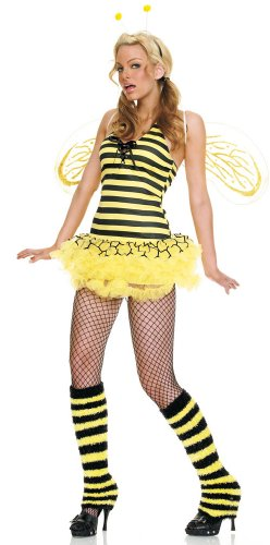 4Pc Bee Movie Queen Bee Sexy Holiday Party Costume (Yellow;Medium/Large)