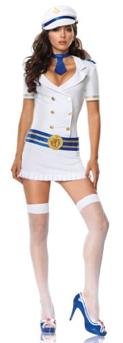 4Pc Captivating Captain Sexy Holiday Party Costume (White/Blue;Small/Medium)