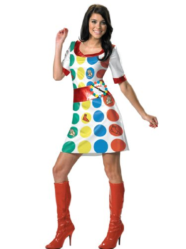 70s Twister Costume Dress with Spinner Easy Sexy Womens Theatrical Costume Sizes: Large