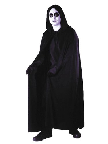 74 Inch Hooded Black Cape Classic Vampire Vampiress Sorcerer Sorceress Count Sizes: One Size