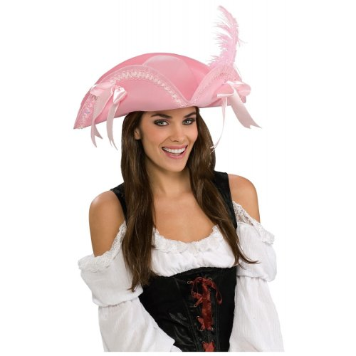 Adult Costume Pink Pirate Hat with Feather and Ribbons