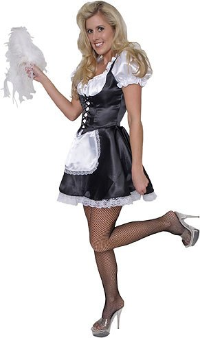Adult Satin French Maid Costume (Sz:Med 10-12)