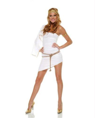 Adult Sexy Glam Greek Goddess Costume (White;X-Small/Small)