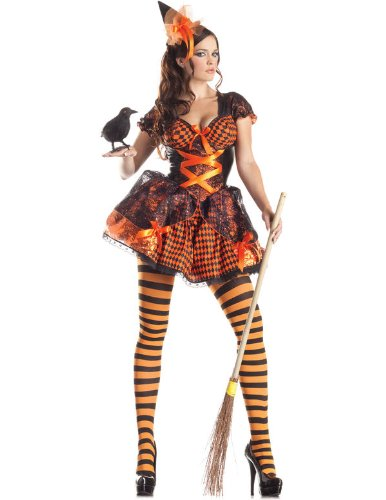 Adult Victorian Witch Costume Party King PK177 (Large, Black/Orange)