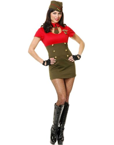 Adult Women's Sexy WW2 Army Babe Military Costume Large 11-13
