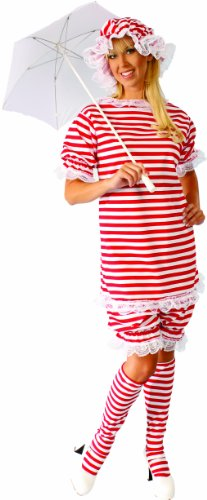 Alexanders Costumes Bathing Suit Female, Red/White, Large
