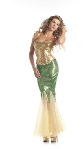 Be Wicked Costumes Women's Water Nymph Mermaid Costume, Gold/Green, Medium/Large