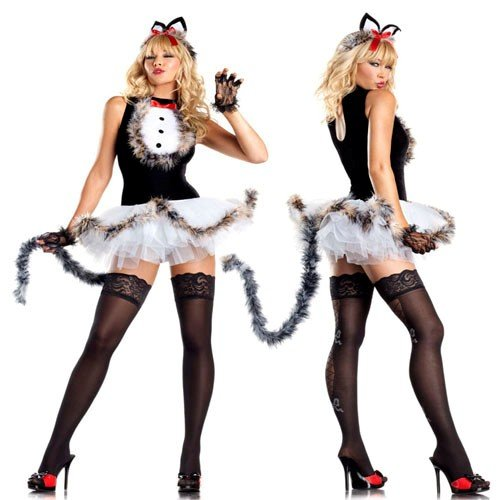 Be Wicked Kissable Kitty Kat Costume, White/Black/Red, Small/Medium