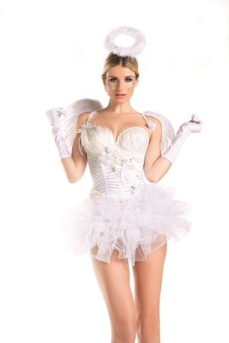 Be Wicked Women's 2 Piece 2 For 1 White Swan Angel, Multi, Small/Medium