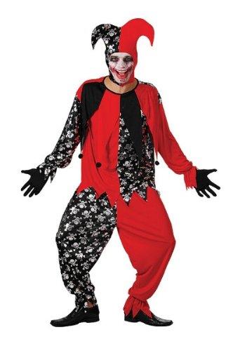 Bristol Novelty Red/Black Evil Jester. Adult Costumes – Men's – One Size