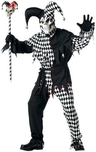 California Costumes Men's Adult- Black Evil Jester, Black/White, L (42-44) Costume