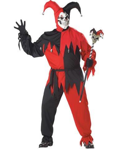 California Costumes Men's Evil Jester Plus Size Costume Plus Size Red and Black