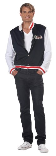 California Costumes Men's Letterman Jacket Adult, Black/White/Red, Large