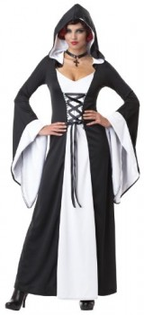 California-Costumes-Womens-Deluxe-Hooded-Robe-Adult-WhiteBlack-Small-0