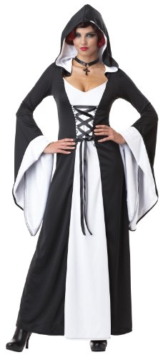 California Costumes Women's Deluxe Hooded Robe Adult, White/Black, Small