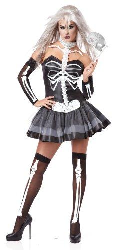 California Costumes Women's Platium Collection – Skeleton Masquerade Adult, Black/White, Small