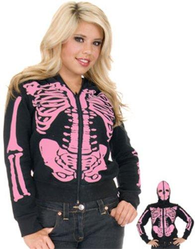 Charades Women's Skeleton Hoodie, Pink/Black, X-Large
