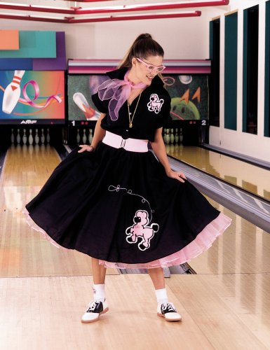 Cruisin USA Complete Poodle Skirt Outfit (Black & Pink) Adult Plus Costume Pink 2X/3X