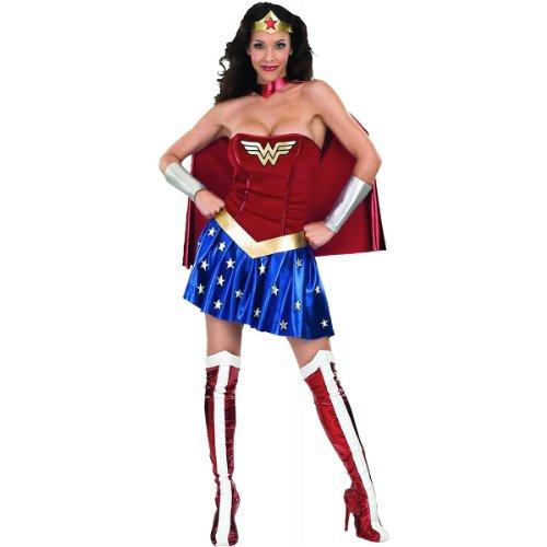 DC Comics Secret Wishes Deluxe Wonder Woman Costume, Blue/Red, Medium (6 -10)