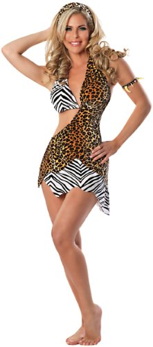 Delicious Wild Thing Sexy Cave Woman Costume, Multi, X-Small/Small