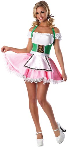 Delicious Women's Beer's On Me Sexy Costume, Pink/Green, Small/Medium