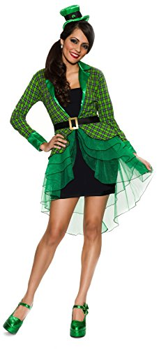 Delicious Women's Lucky Lass Adult Costume, Green/Black, Medium/Large